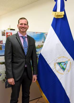 Name: Rodrigo Coronel Kinloch Title: Ambassador of Nicaragua (since July 2018) DoB: Dec. 18, 1975 Hometown: Rio San Juan, Nicaragua Years in Japan: Less than a year
