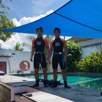 Austin Koslow and his brother work on the scuba diving badge in Bali, Indonesia.