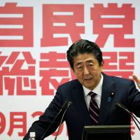 Now that he has achieved domestic political stability by winning re-election as president of the ruling party, Prime Minister Shinzo Abe can more effectively deal with a number of pressing foreign policy issues. | REUTERS