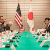 Prime Minister Shinzo Abe participates in an expanded bilateral meeting with U.S. Vice President Mike Pence on Feb. 7 in Tokyo. | WHITE HOUSE