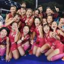 The Japan women's field hockey team celebrates its 2-1 upset victory over India in the gold-medal match at the Asian Games in Jakarta on Friday.