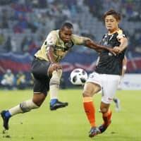 FC Tokyo's Lins moves the ball against Shimizu on Saturday. | KYODO