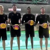 Canada men's national team players (from left) Gaelan Patterson, Milan Radenovic, Reuel D'Souza and Scott Robinson pose for a photo during their training camp at Morioka Municipal Pool in early August | ED ODEVEN