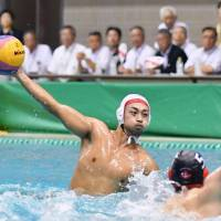 Japan's Keigo Okawa, a 2016 Olympian, scores a goal against Canada in an exhibition match on Aug. 5. Poseidon Japan defeated Canada 13-7 in a tuneup match before the Asian Games. | KYODO