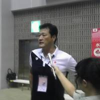 Japan men's national team coach Yoji Omoto talks to reporters on Aug. 5 after an exhibition match against Canada.   ED ODEVEN