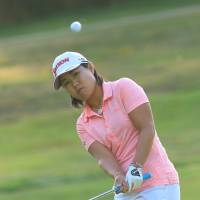 Nasa Hataoka hits a shot during the first round of the Evian Championship on Thursday. | KYODO