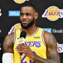 The Lakers' LeBron James speaks during a news conference on Monday in El Segundo, California.