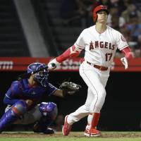 Shohei Ohtani's eight-game hitting streak ends as Angels beat Rangers