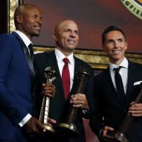 (From left) Ray Allen, Jason Kidd and Steve Nash pose after induction ceremonies at the Basketball Hall of Fame on Friday night in Springfield, Massachusetts. | AP