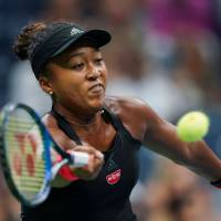 Naomi Osaka competes against Madison Keys in the U.S. Open women's singles semifinals on Thursday. | AFP-JIJI