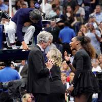 Serena Williams argues with tournament director Brian Earley and chair umpire Carlos Ramos during the womenís final of the 2018 U.S. Open tennis tournament. | ROBERT DEUTSCH/USA TODAY SPORTS/VIA REUTERS