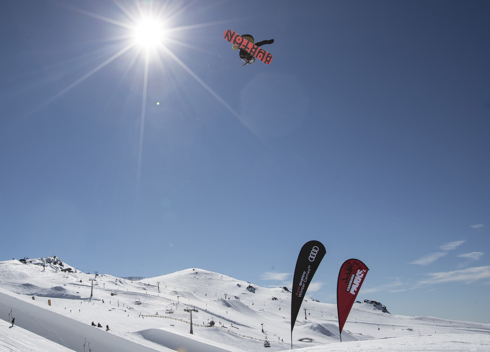 Reira Iwabuchi competes in the women's snowboard big air final at the Winter Games NZ in Cardrona, New Zealand, on Saturday.   AP
