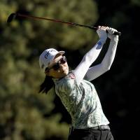 Ayako Uehara of Japan hits her tee shot on the 13th hole during the final round of the LPGA Cambia Portland Classic golf tournament in Portland, Oregon on Sunday. | AP