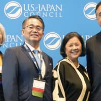 (L-R) Cole Chemical CEO and USJC Board Member and Summit Chair Donna Cole, Aichi Prefecture Governor Hideaki Ohmura, USJC President Irene Hirano Inouye, CityView Founder and Chairman Henry Cisneros, who was once mayor of San Antonio and a former HUD secretary, during the Japan-Texas Economic Summit | USJC
