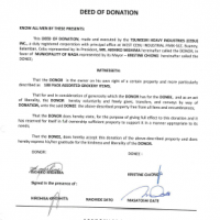 Deed of Donation issued by Philippines government