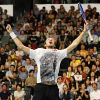 Daniil Medvedev of Russia reacts after winning against Kei Nishikori in the Rakuten Japan Open final on Sunday | REUTERS