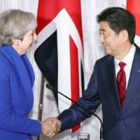 During an interview with Britain's Financial Times newspaper in Tokyo on Sunday, Prime Minister Shinzo Abe, one of British Prime Minister Theresa May's closest international allies, said Japan would welcome Britain into a Trans-Pacific Partnership free trade pact. | KYODO