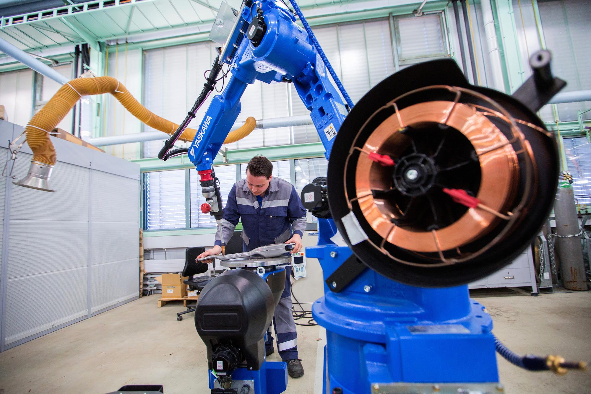Yaskawa Electric Corp.'s robotic arm at ThyssenKrupp's steel plant in Germany. | BLOOMBERG