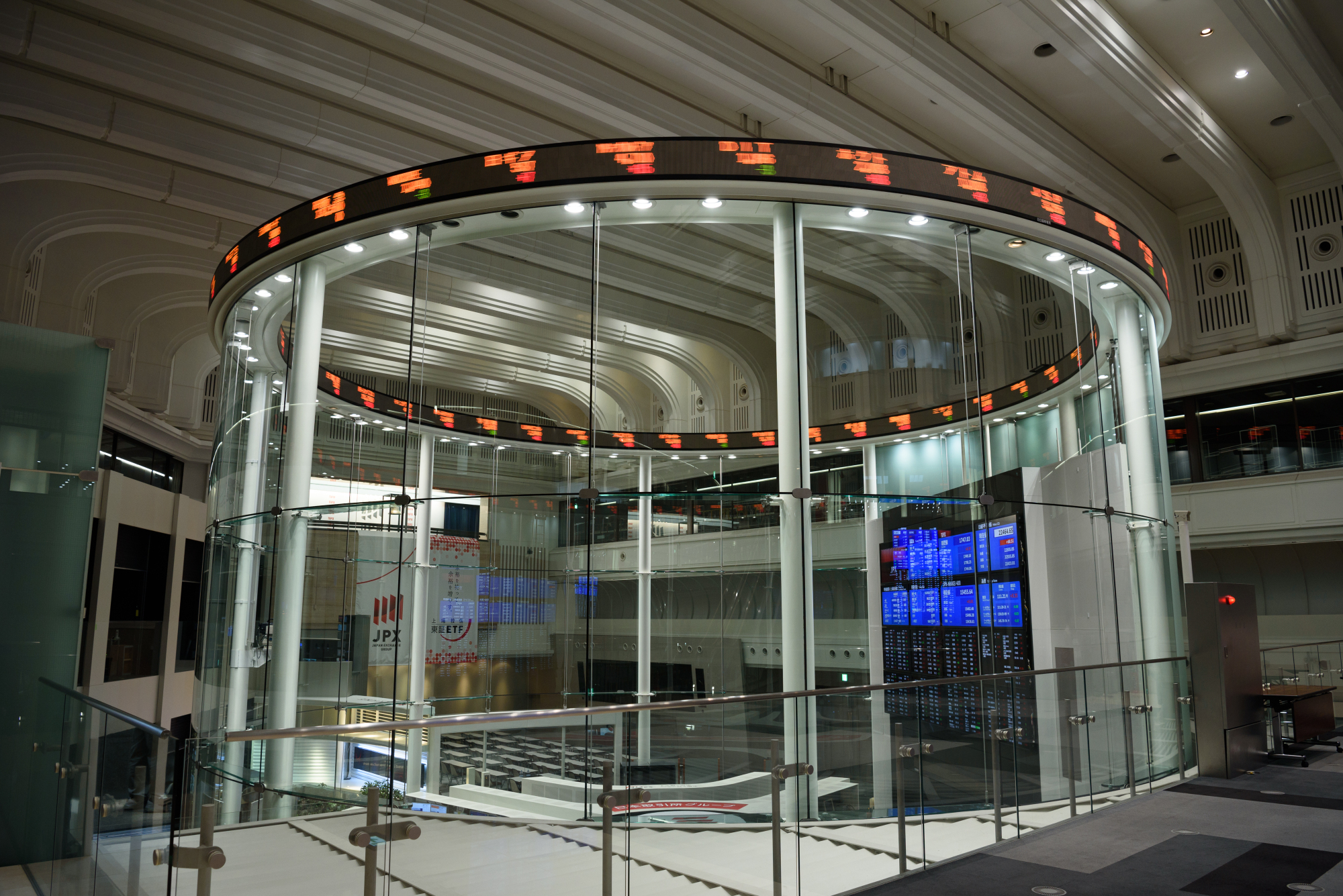 An electronic ticker displays share prices at the Tokyo Stock Exchange in the capital in July. | BLOOMBERG