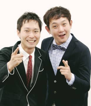 Taking a shot at the stage: Shuichi Takizawa (left) is part of comedy duo Machine Guns along with Ryo Nishihori.