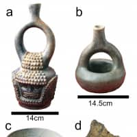 This composite image provided by researchers in October shows artifacts from the Santa Ana-La Florida archaeological site in southeast Ecuador, made by the Mayo Chinchipe culture. A and B are stirrup spout bottles used to hold beverages. C is a stone bowl, and similar (ceramic, wood, etc.) bowls are still used today to serve fermented beer. D is a shard of a pottery vessel. | FRANCISCO VALDEZ, CLAIRE LANAUD / VIA AP