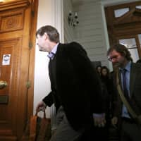 James Hamilton and Juan Andres Murillo, victims of clerical sexual abuse in Chile, attend a court sessioin seeking compensation in civil case in Santiago Thursday. | REUTERS