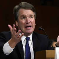 Supreme Court nominee Judge Brett Kavanaugh testifies before the Senate Judiciary Committee on Sept. 27. | AP
