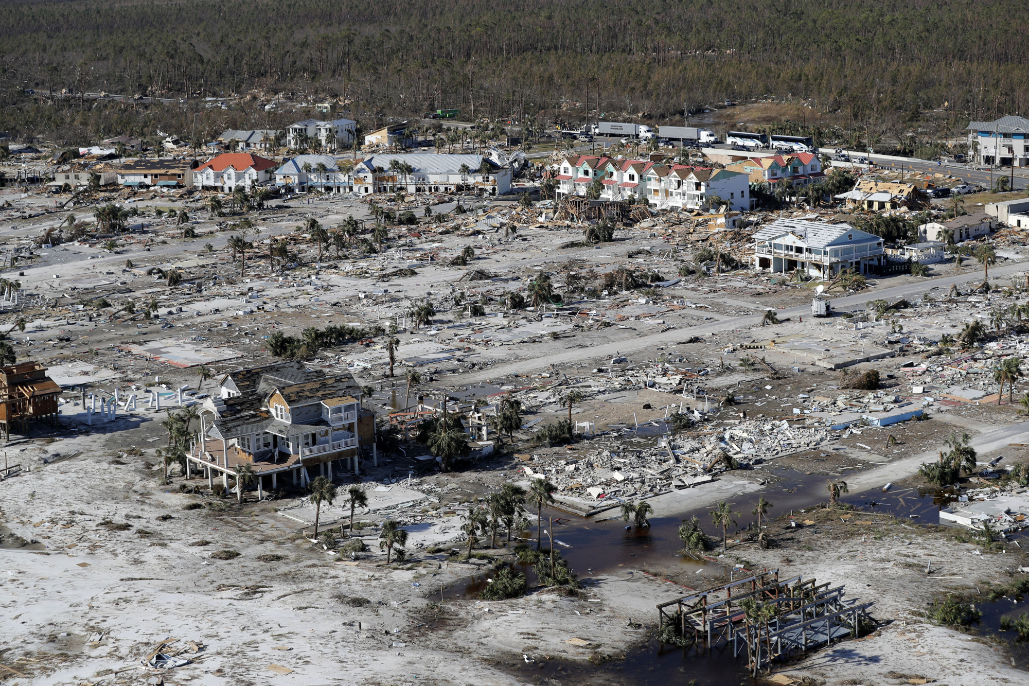 Devastation from Hurricane Michael is seen in this aerial photo taken over Mexico Beach, Florida, on Friday. Blocks and blocks of homes were demolished, reduced to piles of splintered lumber or mere concrete slabs, by the most powerful hurricane to hit the continental U.S. in nearly 50 years. | AP