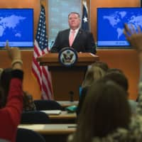 U.S. Secretary of State Mike Pompeo attends a news conference at the State Department in Washington on Oct. 23. | AFP-JIJI