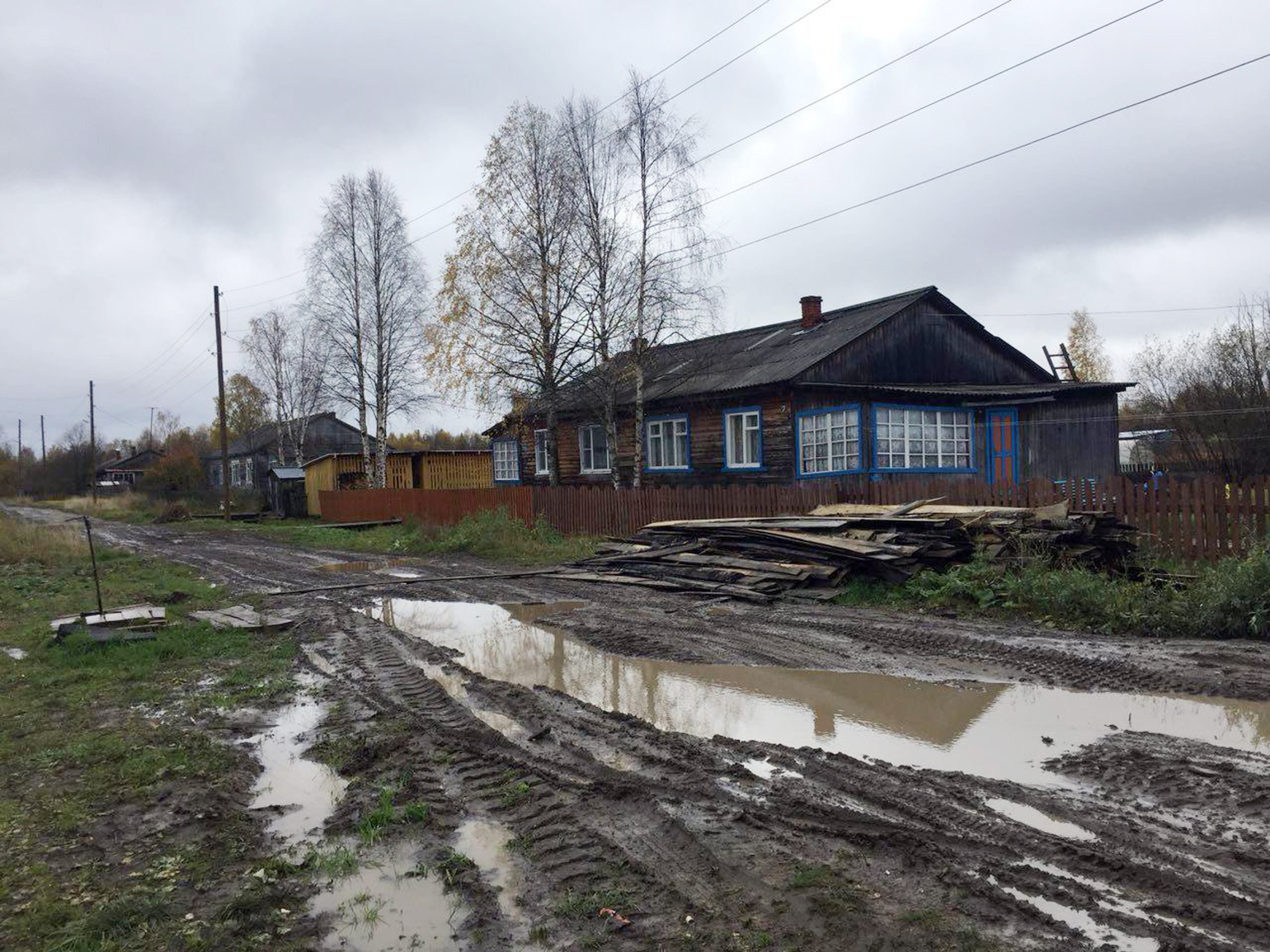 This photo taken on Tuesday and provided by 'The Insider' shows a street in Loyga, Arkhangelsk region, about 700 km northeast of Moscow. Loyga village has been named by investigative group Bellingcat as the home village of Alexander Petrov, who was identified as Dr. Alexander Mishkin, working for the GRU and decorated with Russia's highest award.   COURTESY OF THE INSIDER / VIA AP