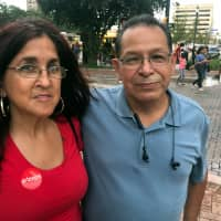 Hispanic voters Roger Luna and his friend Dolores Alvarez pose for a photograph in San Antonio, Texas, Oct. 13. | REUTERS