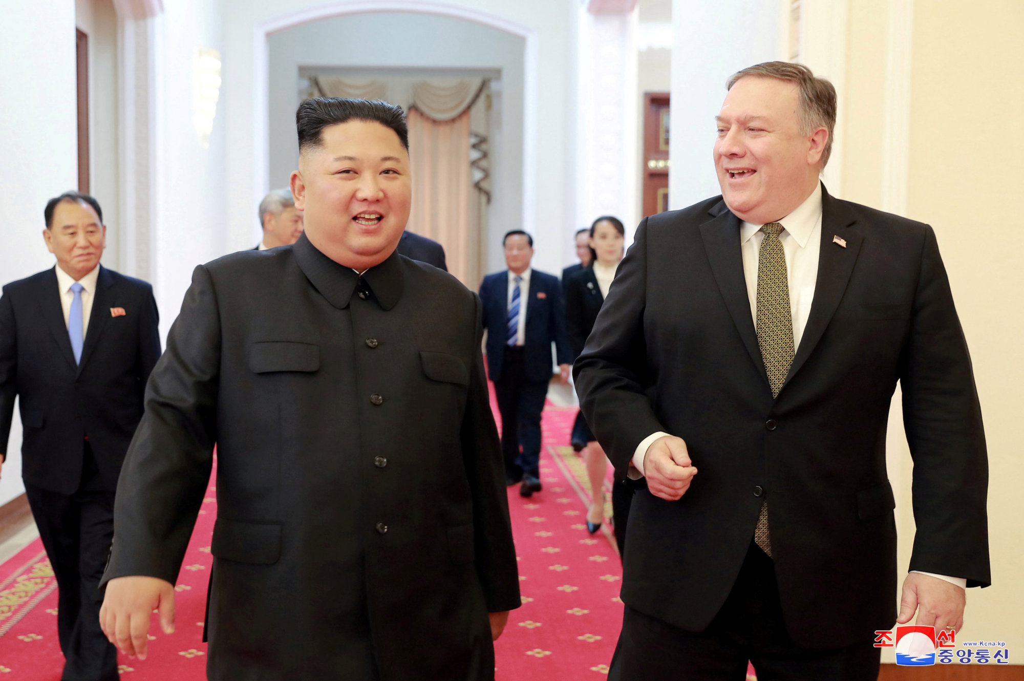 North Korean leader Kim Jong Un meets with U.S. Secretary of State Mike Pompeo (right) in Pyongyang in this photo released by North Korea's Korean Central News Agency (KCNA) on Sunday. | KNCA / VIA REUTERS