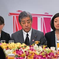 Defense Minister Takeshi Iwaya speaks during the Japan-ASEAN security meeting in Singapore on Saturday. | AFP-JIJI