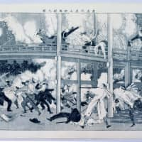 A woodblock print by Tsukioka Yoshitoshi depicts a battle between pro-Imperial and pro-shogunate samurai in the Ueno district of Tokyo in 1868. The battle was part of the Boshin Civil War, which led to the establishment of the modern Meiji government. | EDO TOKYO MUSEUM
