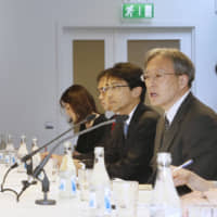 Diplomats from the Japanese and North Korean foreign ministries attend a meeting in Stockholm in May 2014. | KYODO