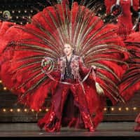 Members of Japan's Takarazuka Revue take part in a dress rehearsal Friday in Taipei ahead of the start of its third Taiwan tour, which began Saturday. | KYODO