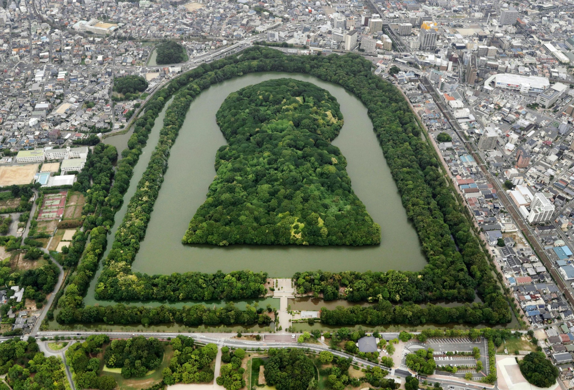 Daisen Kofun, in Sakai, Osaka Prefecture, was first built in the fifth century and is officially designated as the tomb of Emperor Nintoku.   KYODO