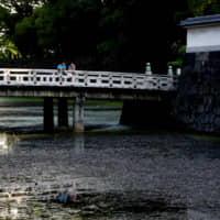 Tourists stand on a bridge to Hirakawa-mon Gate at the Imperial Palace in Tokyo on Oct. 10. | REUTERS