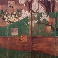 'Cherry Trees and Kerria Rose' (17th century), with inscription attributed to Honami Koestu and painting by Tawaraya Sotatsu.   TOKYO NATIONAL MUSEUM