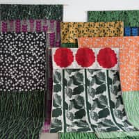 Yuri Himuro's Bloom collection of double-faced textiles is on show at the Axis Building in Roppongi.
