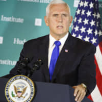 U.S. Vice President Mike Pence slams China at the Hudson Institute in Washington on Oct. 4.  Pence's speech signaled a firmer U.S. pushback against Beijing as trade anxiety weighs on the looming midterm congressional elections. | BLOOMBERG