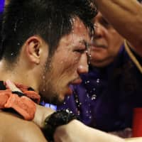 Ryota Murata returns to his corner after fighting Rob Brant during a middleweight title bout on Saturday in Las Vegas. Brant won by unanimous decision. | AP
