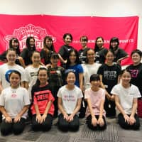Thunder Girls dancer Kei Hirata (second row, center) and a group of students are seen at a dance clinic in Akita on Oct. 14. The event was sponsored by the B. League's Akita Northern Happinets. | COURTESY OF KEI HIRATA