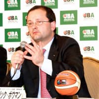 FIBA secretary general Patrick Baumann, seen in a file photo, visited Japan many times in recent years to hold talks with Japan Basketball Association leaders and stakeholders. | KAZ NAGATSUKA