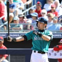Ichiro Suzuki, seen batting in a spring training game this year, is expected to serve as a Mariners player and coach when spring training begins next February. | KYODO