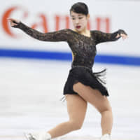 Mai Mihara, seen in a January file photo, debuted her 'It's Magic' program at the Nebelhorn Trophy last weekend. She finished runner-up with 209.22 points. | KYODO