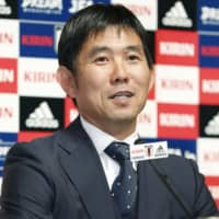 Samurai Blue head coach Hajime Moriyasu announces his squad for the team's upcoming friendlies at a Thursday news conference. | KYODO