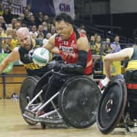 Yukinobu Ike competes for Japan during the 2018 IWRF Wheelchair Rugby World Championship final in Sydney on Aug. 10. | KYODO