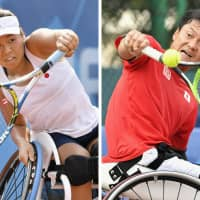 Yui Kamiji (left) and Shingo Kunieda won the men's and women's singles competitions at the Asia Para Games on Friday in Jakarta. | KYODO