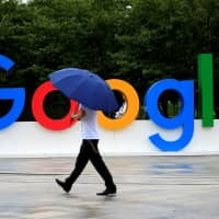 A Google sign is seen during the WAIC (World Artificial Intelligence Conference) in Shanghai in September.   REUTERS